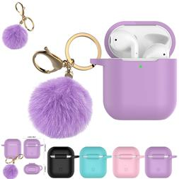 Airpods Silicone Charging Case Cover Fur Ball Keychain For A