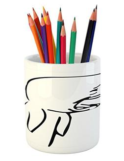 Ambesonne Humor Pencil Pen Holder, Sad Guy Upset Crying Popu