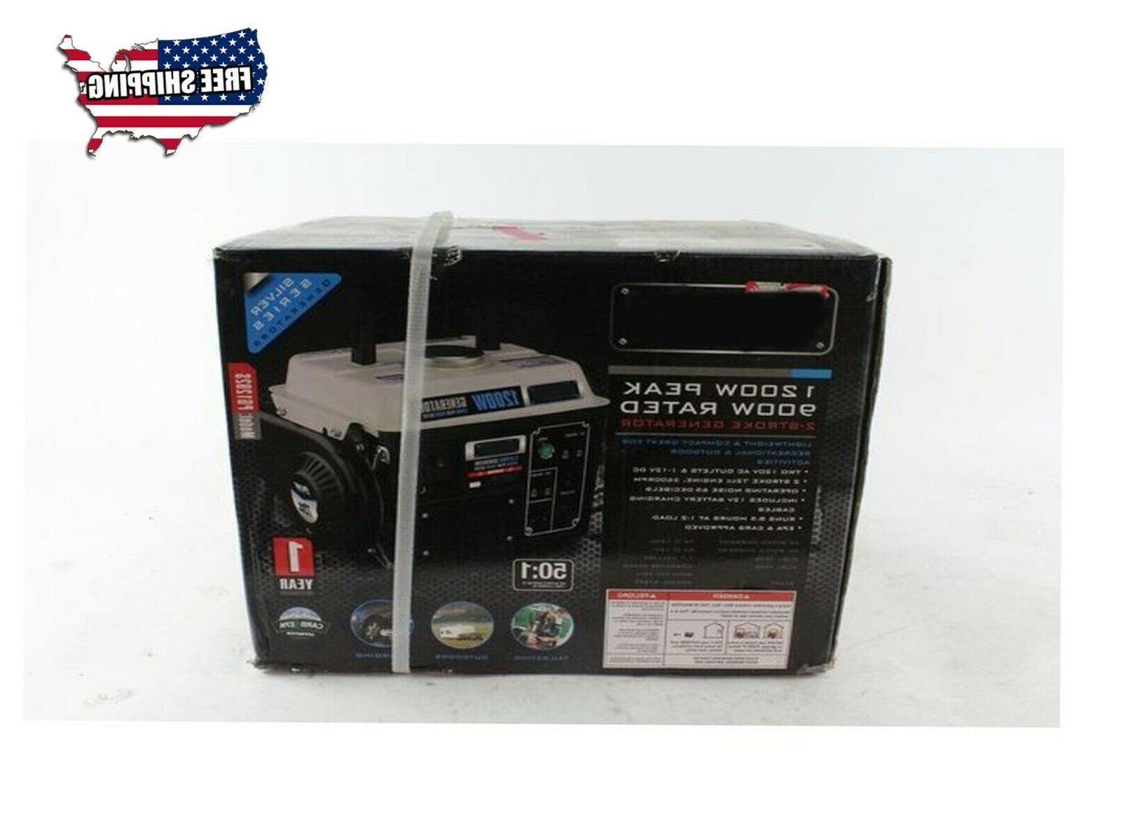 New Generator Gasoline 1200W Rated Outdoor US 1.2