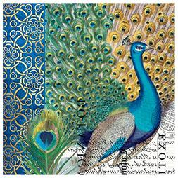 Michel Design Works Paper Luncheon Napkins, Peacock, 20 ct
