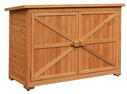 Outdoor Storage Shed Wooden Tool Locker Shelter Box Patio Ga
