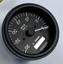 Tachometer/Hourmeter 0-3000 RPM Alternator Signal Gauge Blac